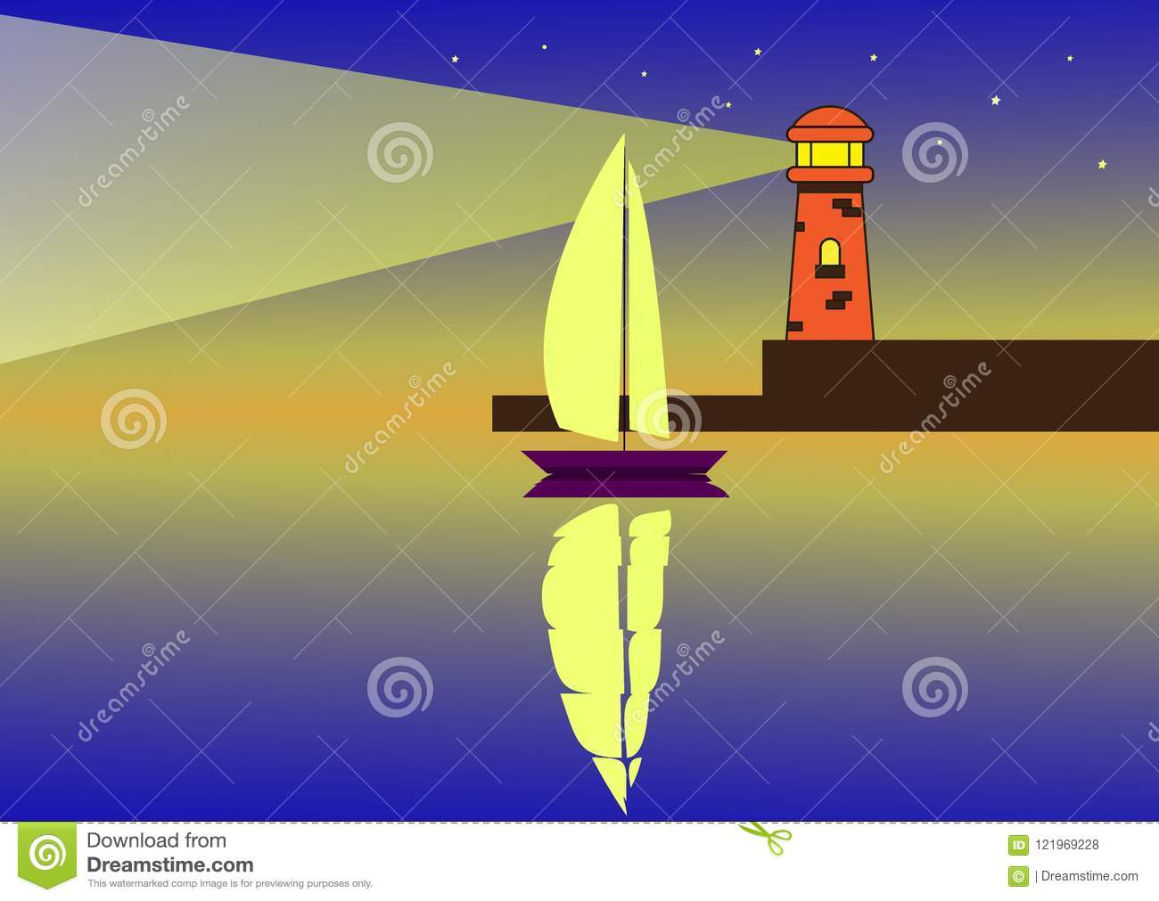 A sailboat at night in the light of a lighthouse