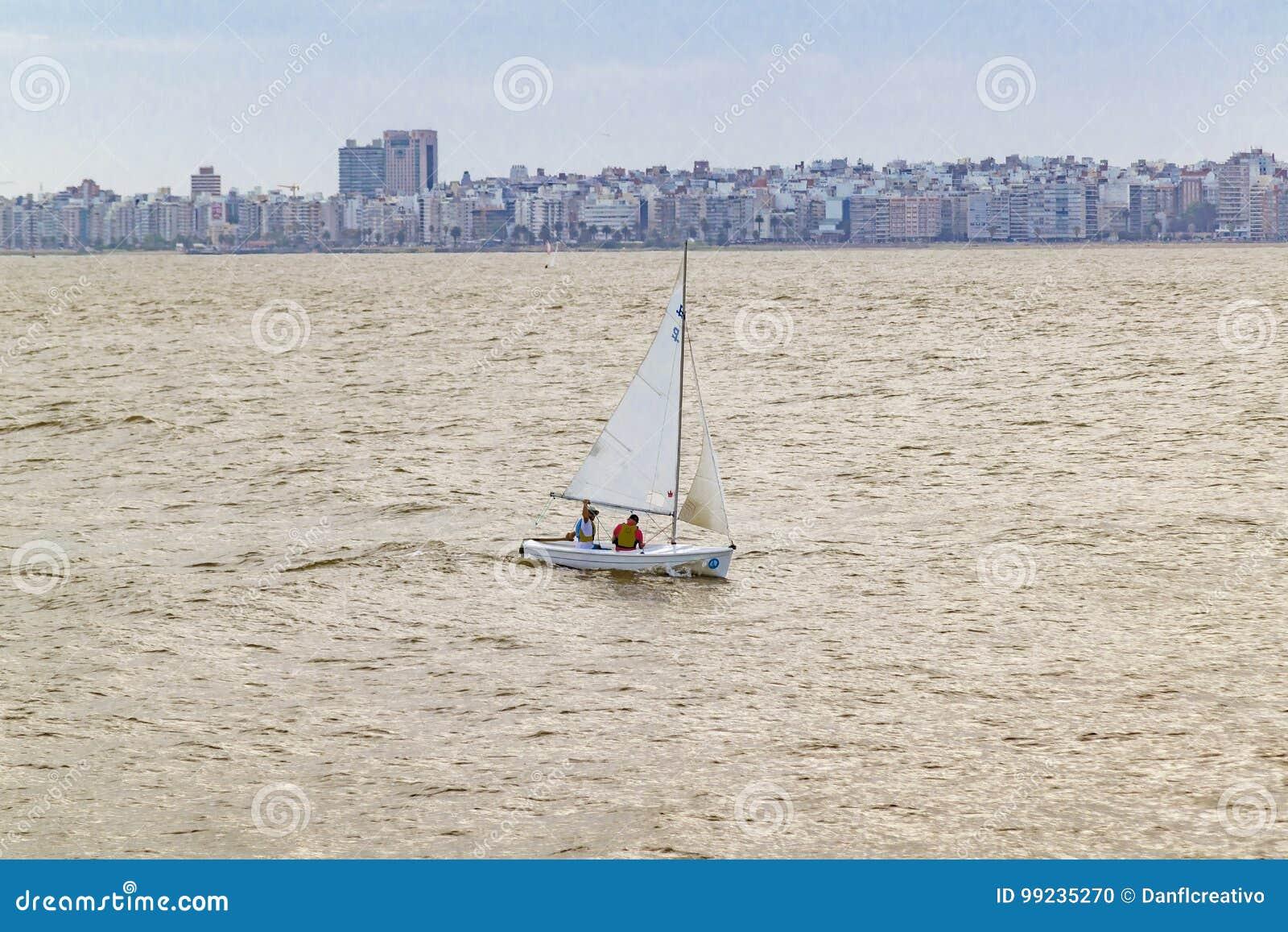 Sailboat At River, Montevideo, Uruguay Editorial Image