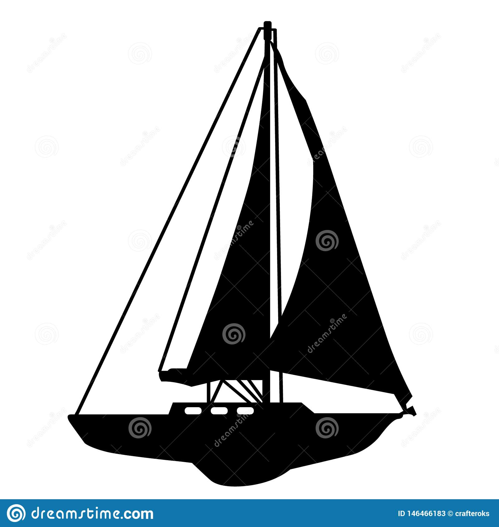 Sailboat Hand drawn, Vector, Eps, Logo, Icon, silhouette Illustration by crafteroks for different uses.