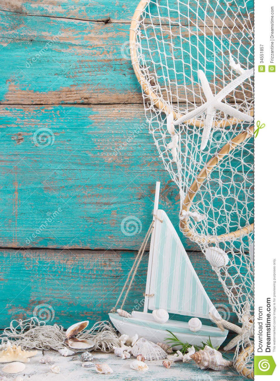 Sailboat with shells and fishing net on turquoise background, holiday ...