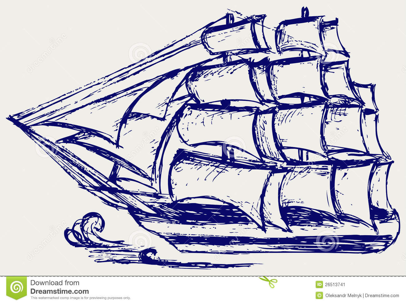 Sailboat Sketch Stock Image - Image: 26513741