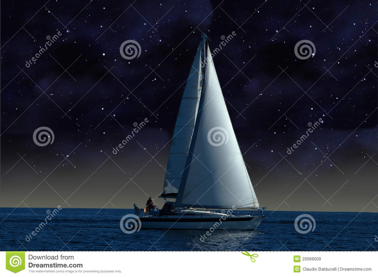 A sailboat in the starry night