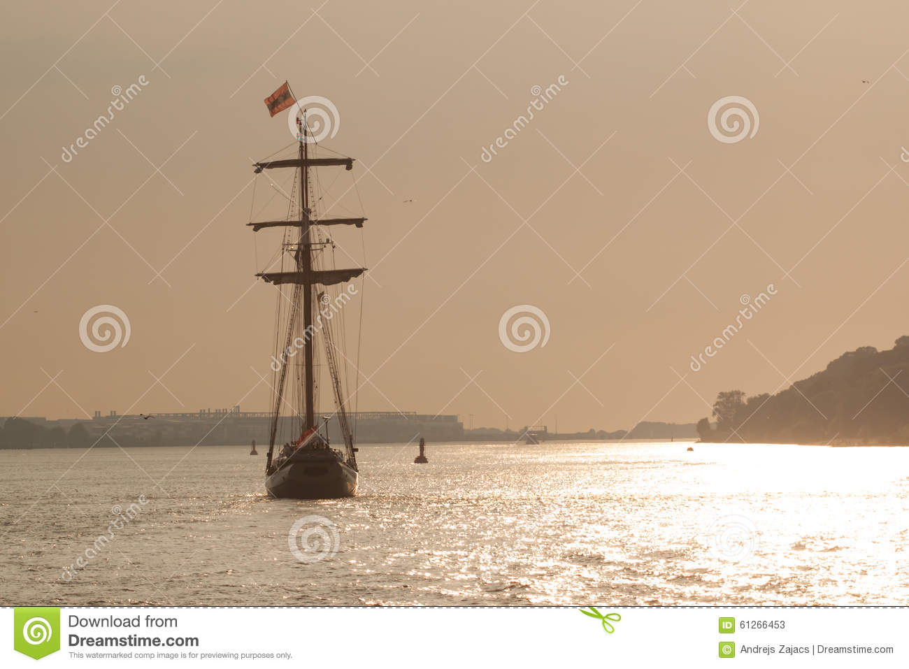 Sailboat at sunset, Hamburg river