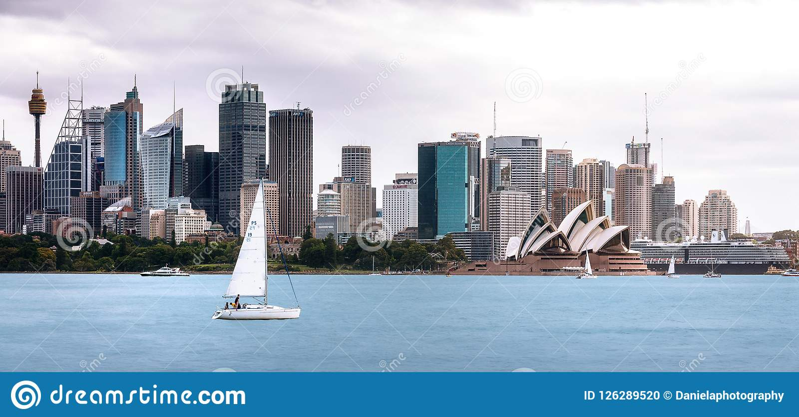 A sailboat in Sydney Harbour, Australia.
