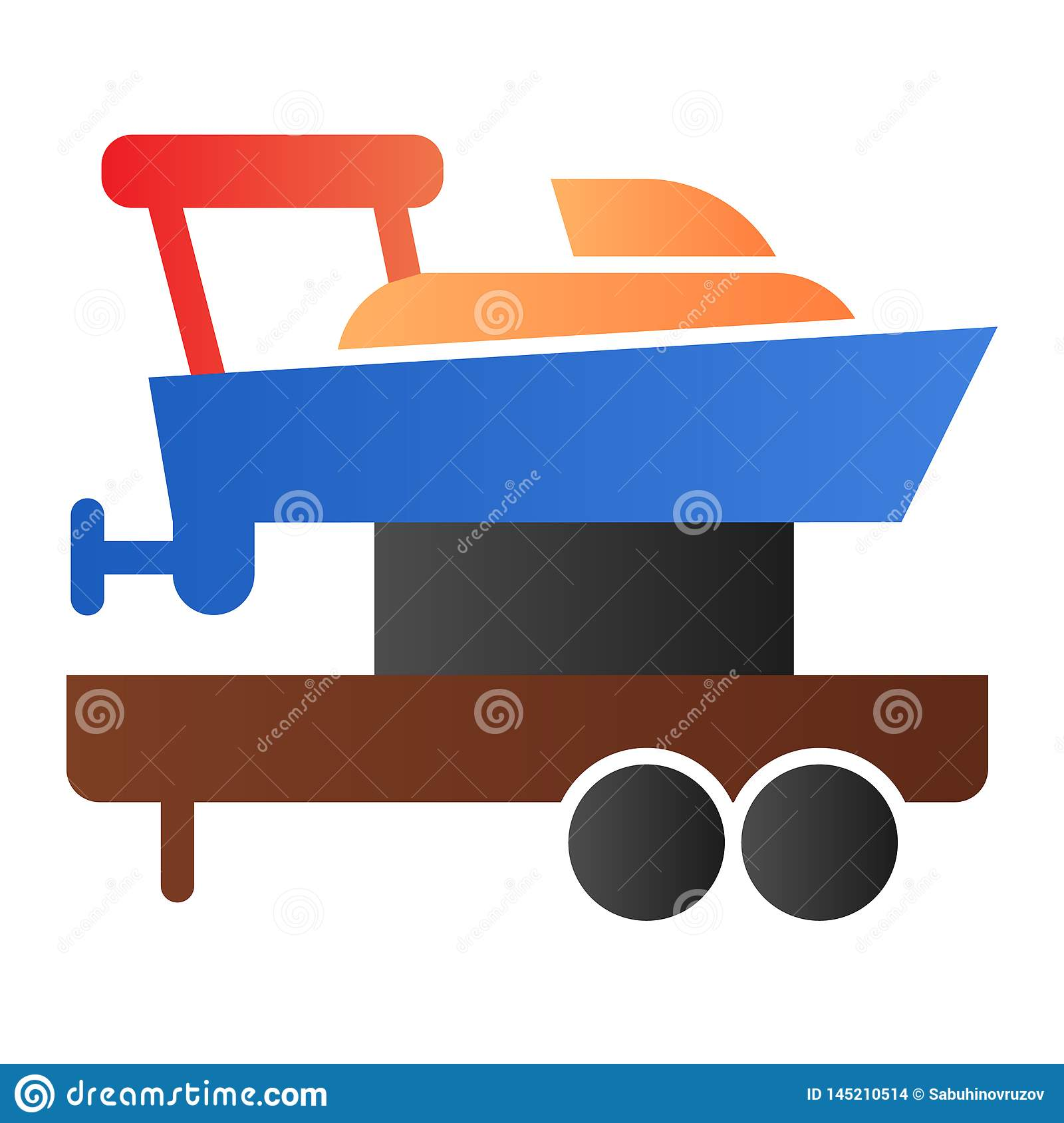 Sailboat on truck flat icon. Boat with trailer color icons in trendy flat style. Ship transportation gradient style