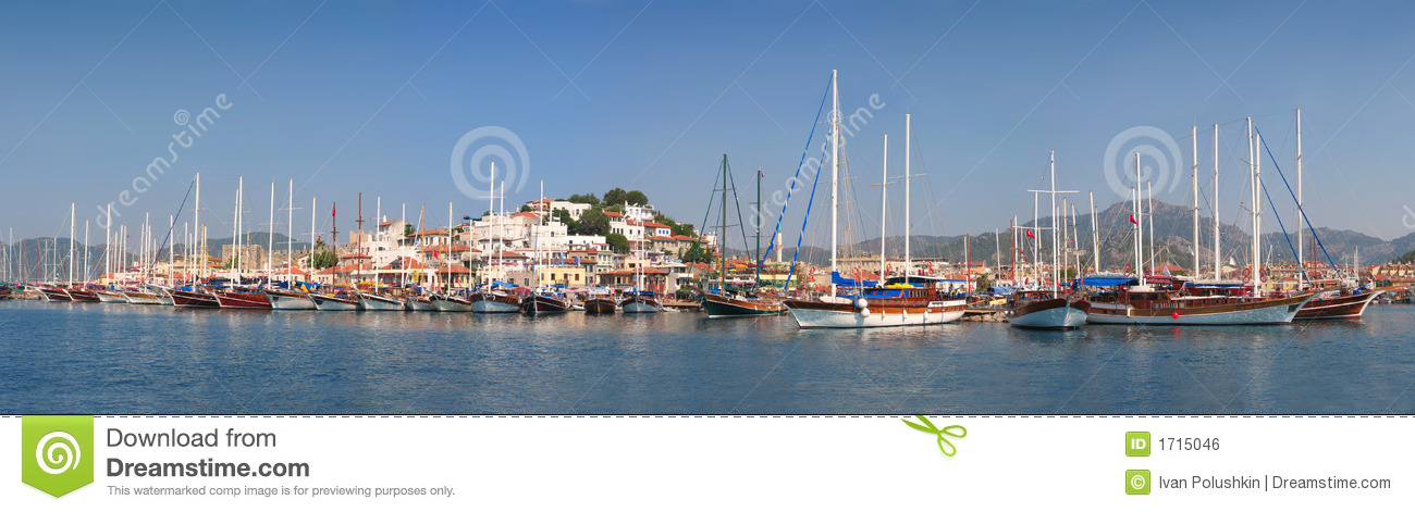Sailboats anchored in harbour