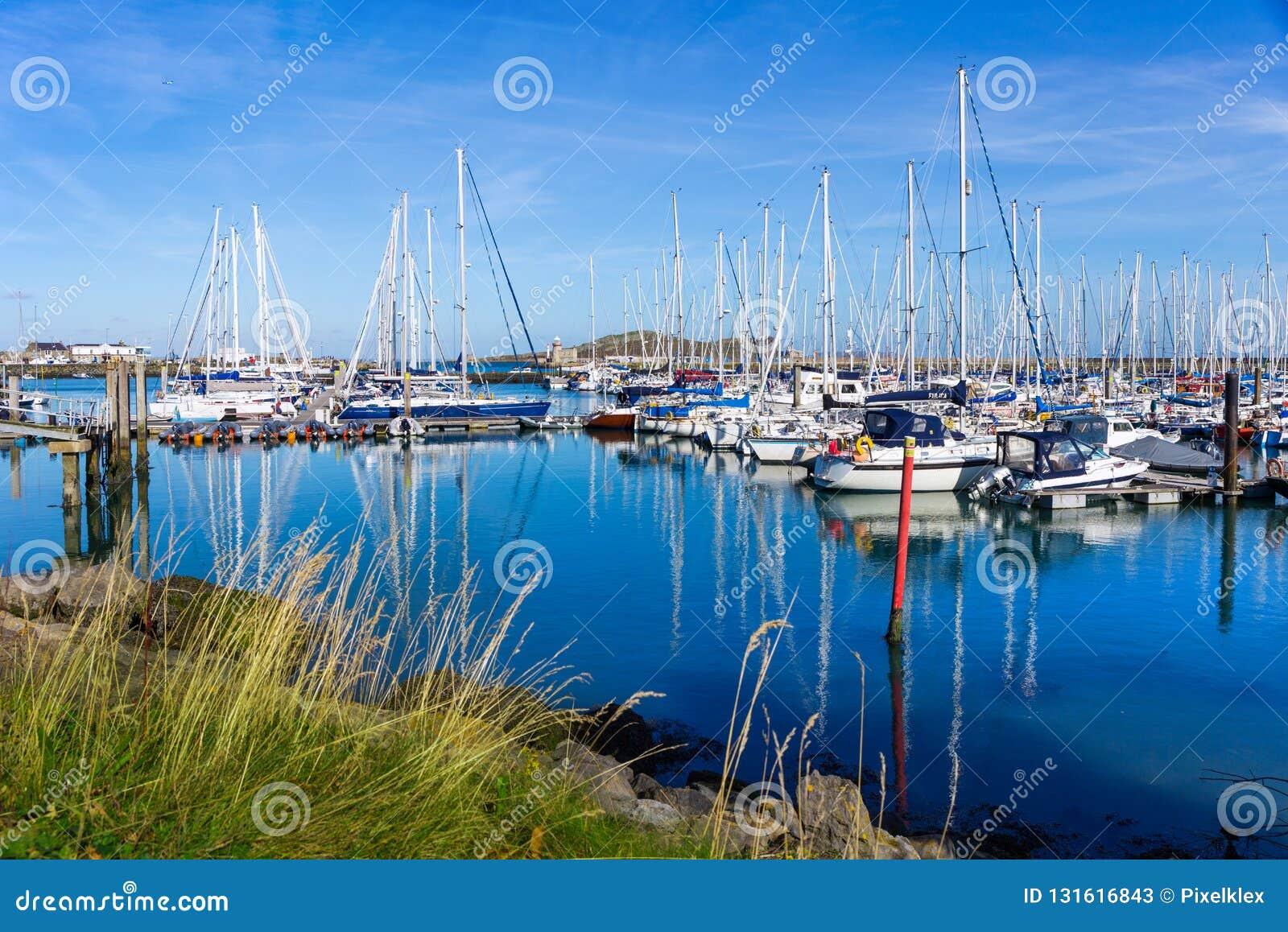 Sailboats in the harbor of Howth near Dublin