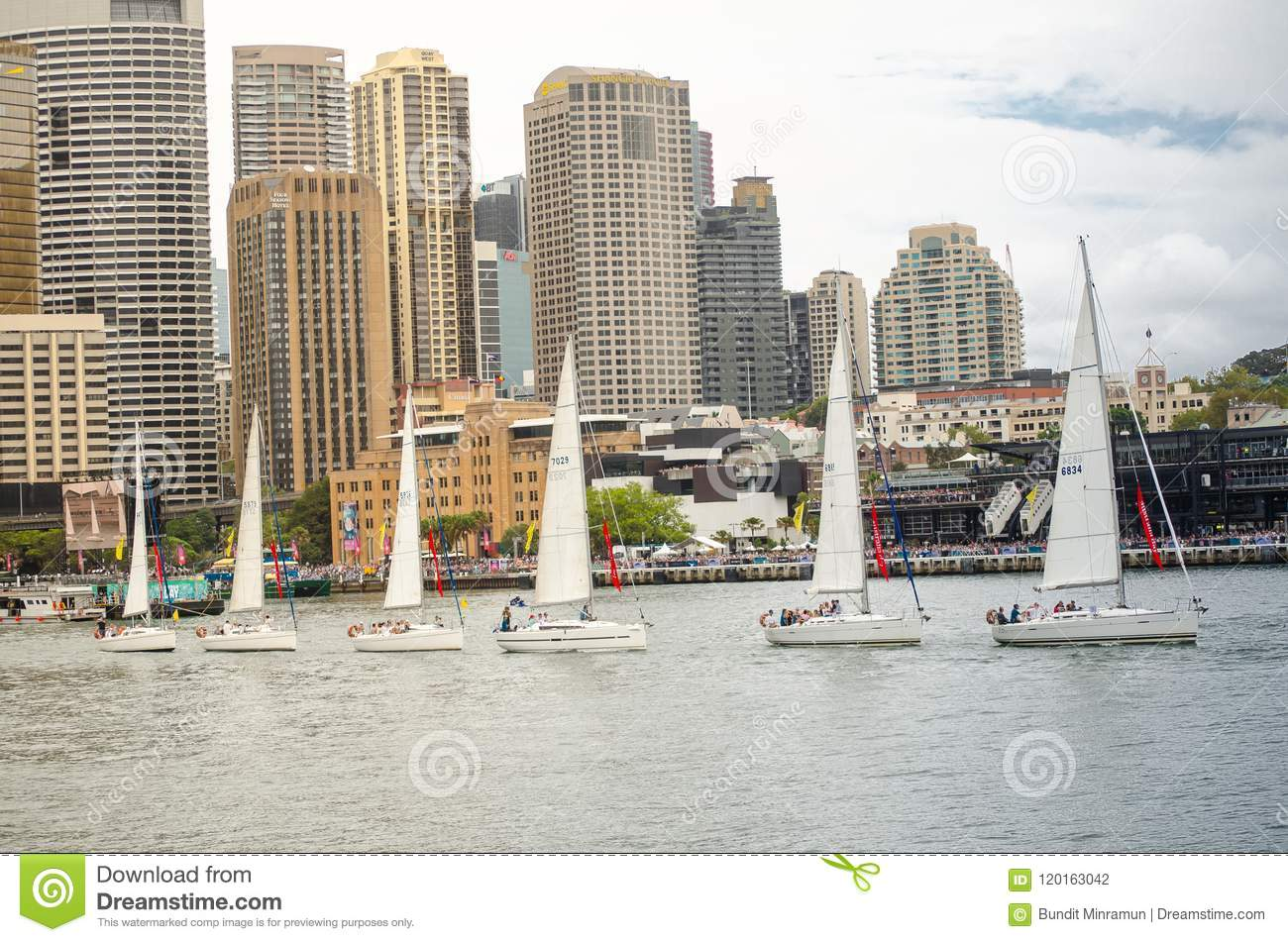 Sailboats Performing Ballet Movement Show In Events On Australia Day