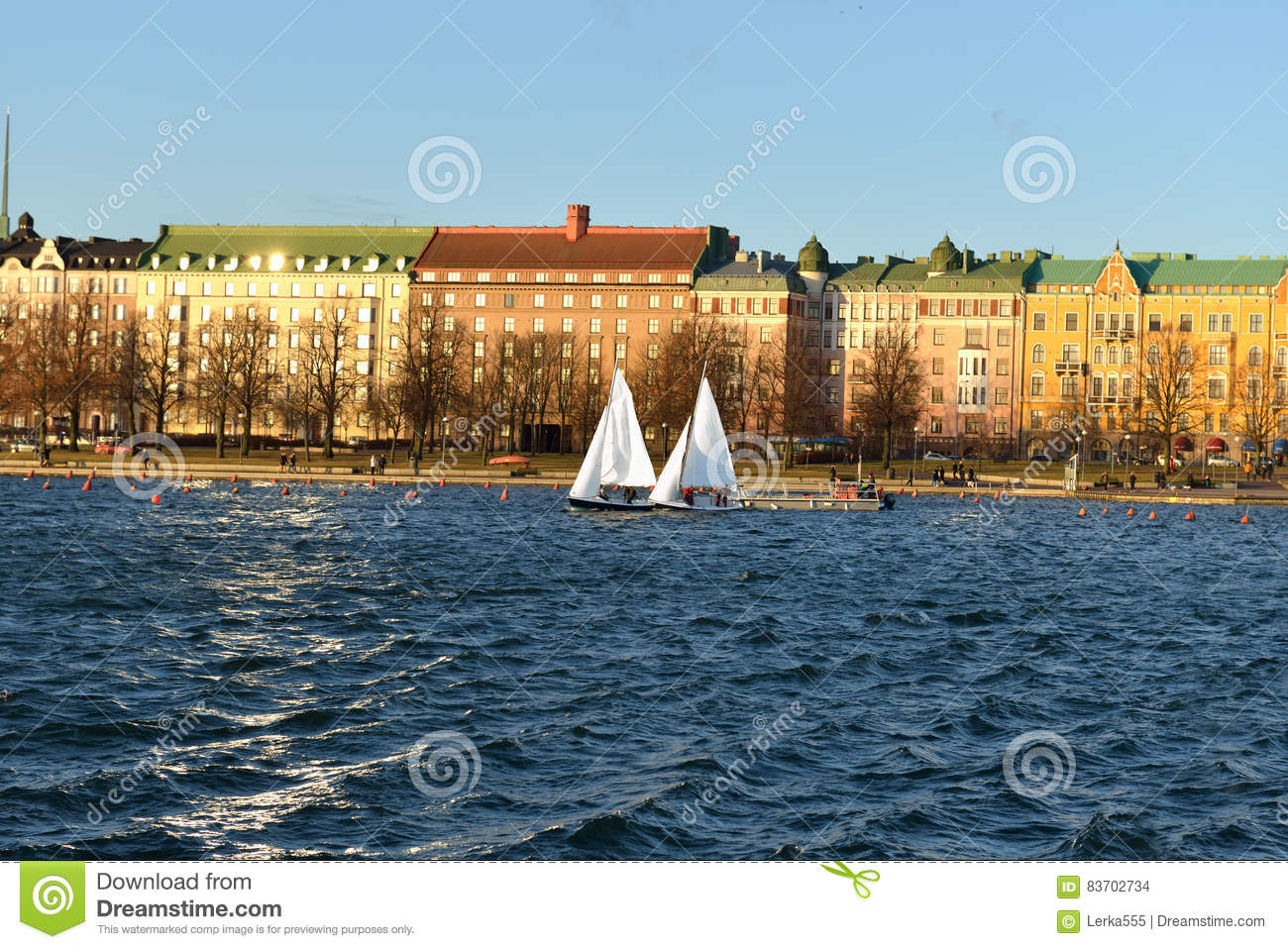 Sailboats in sea  Helsinki stock photo  Image of famous