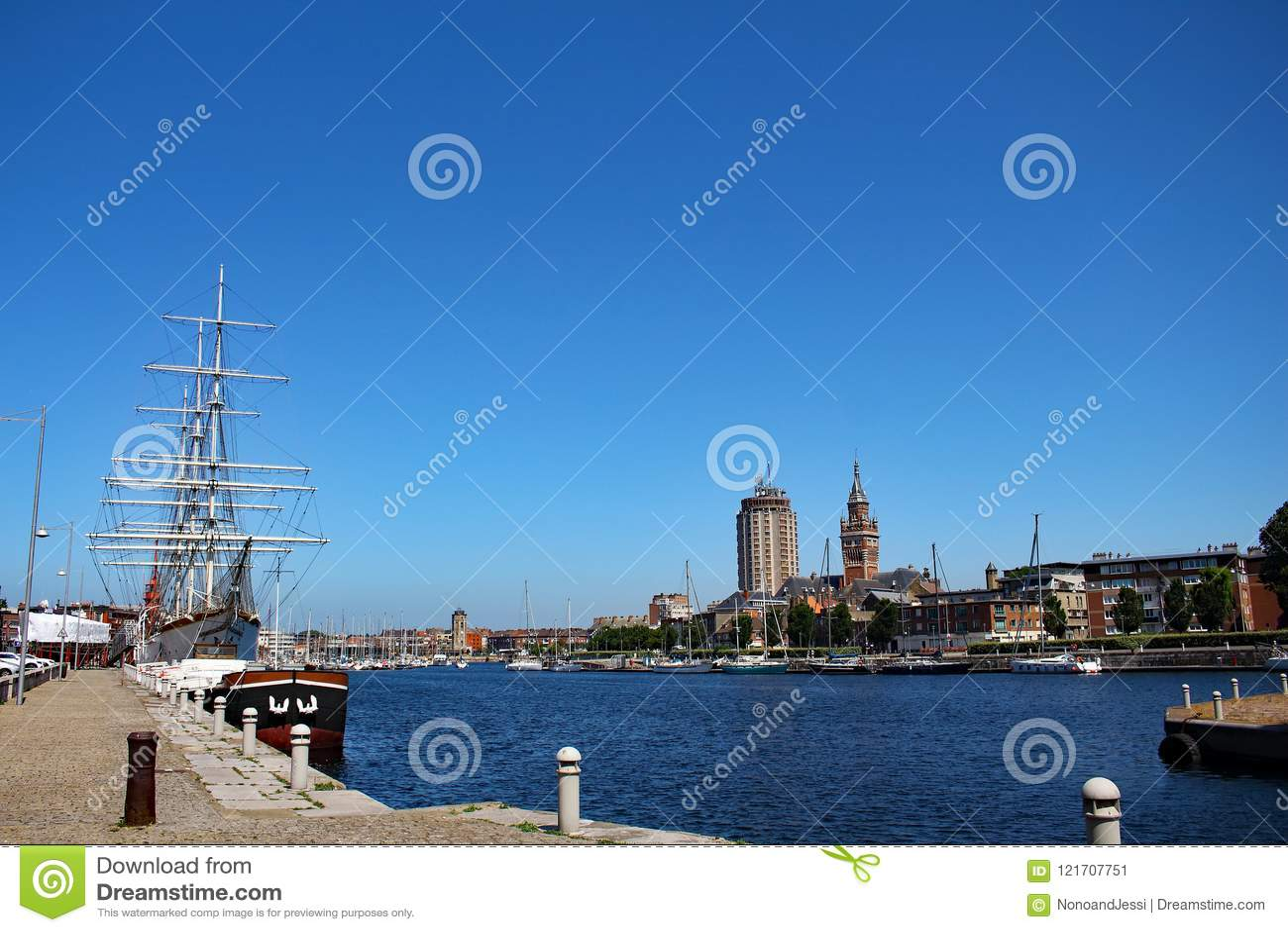 Sailboats and yachts moored at the marina of Dunkirk