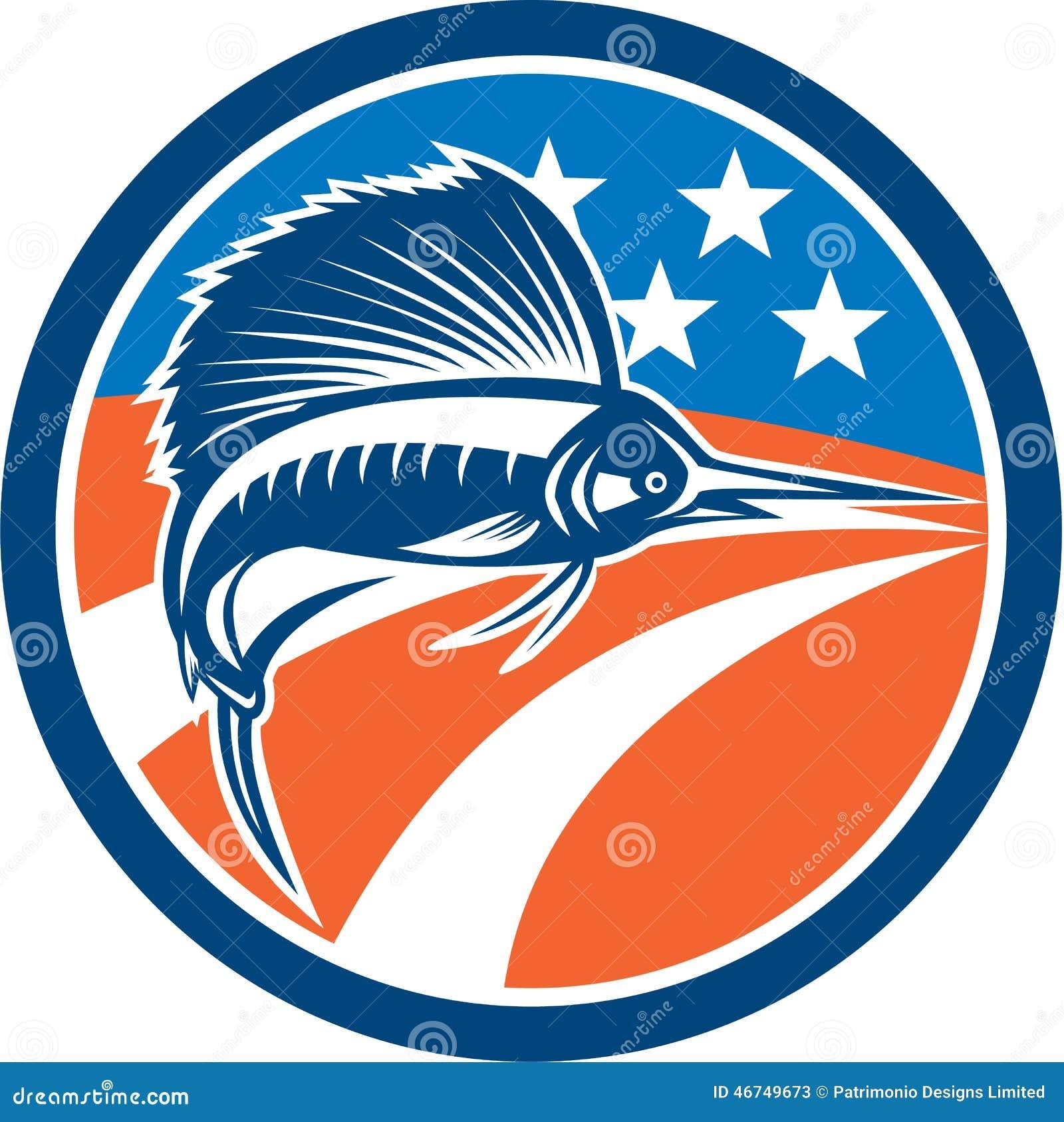 Sailfish fish jumping american flag circle retro stock for American flag fish