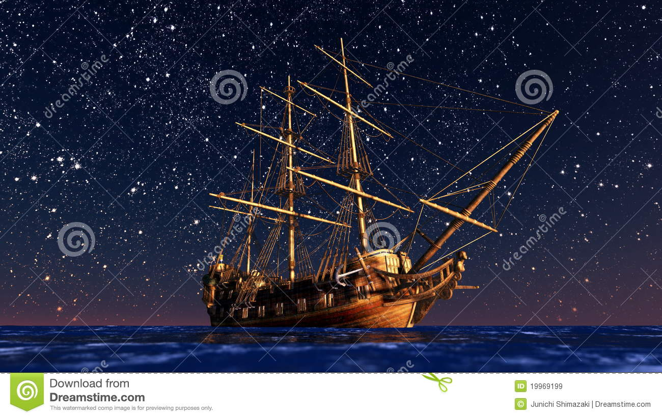 Sailing boat goes on a voyage under starlight .