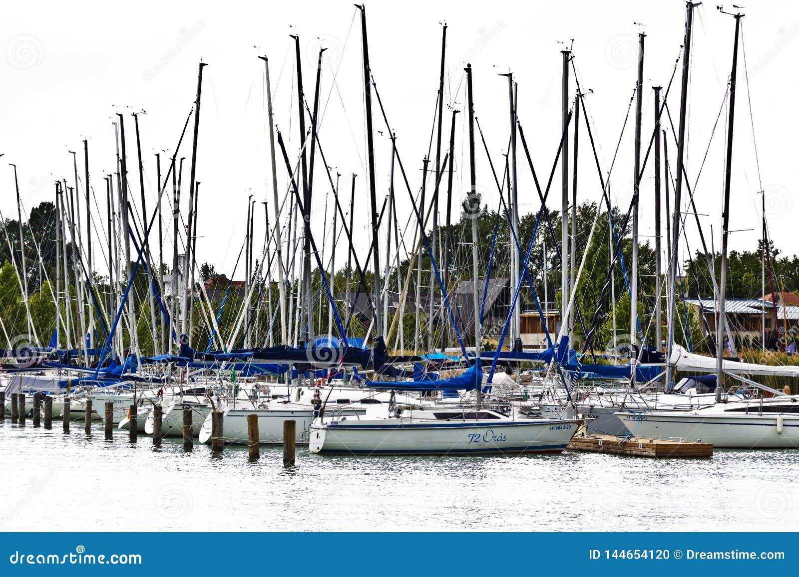 Sailing boat harbor, from Balaton lake.