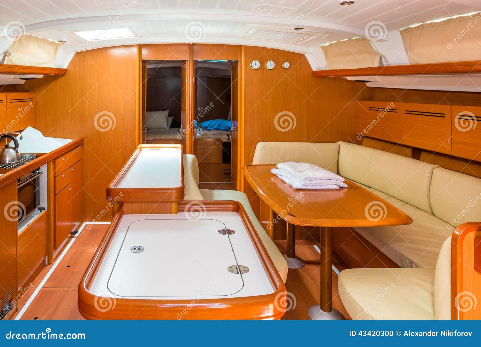 Sailing boat interior stock photo image of ship price for Pontoon boat interior designs