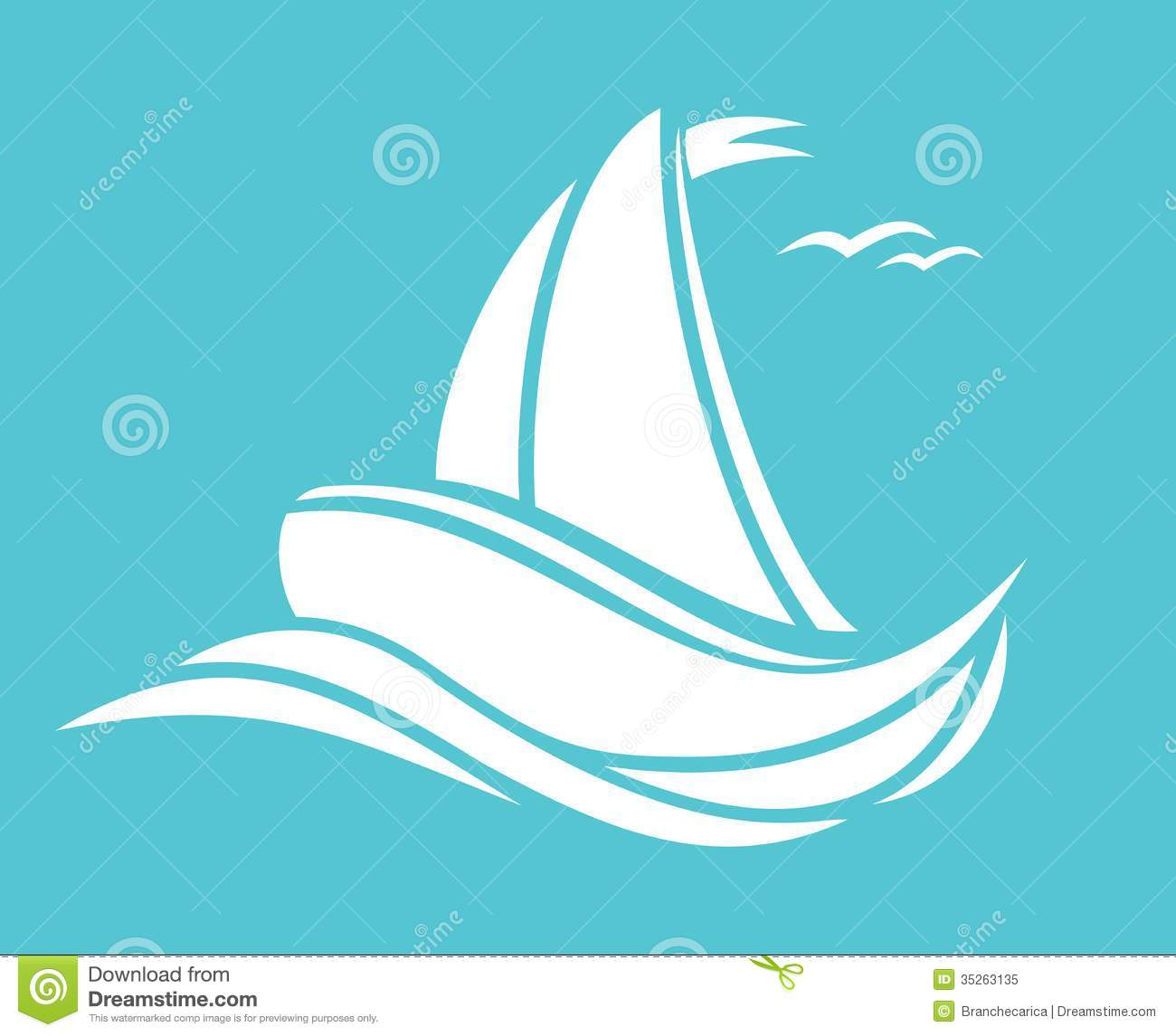 Sailing boat stock vector. Illustration of ferry, blue - 35263135