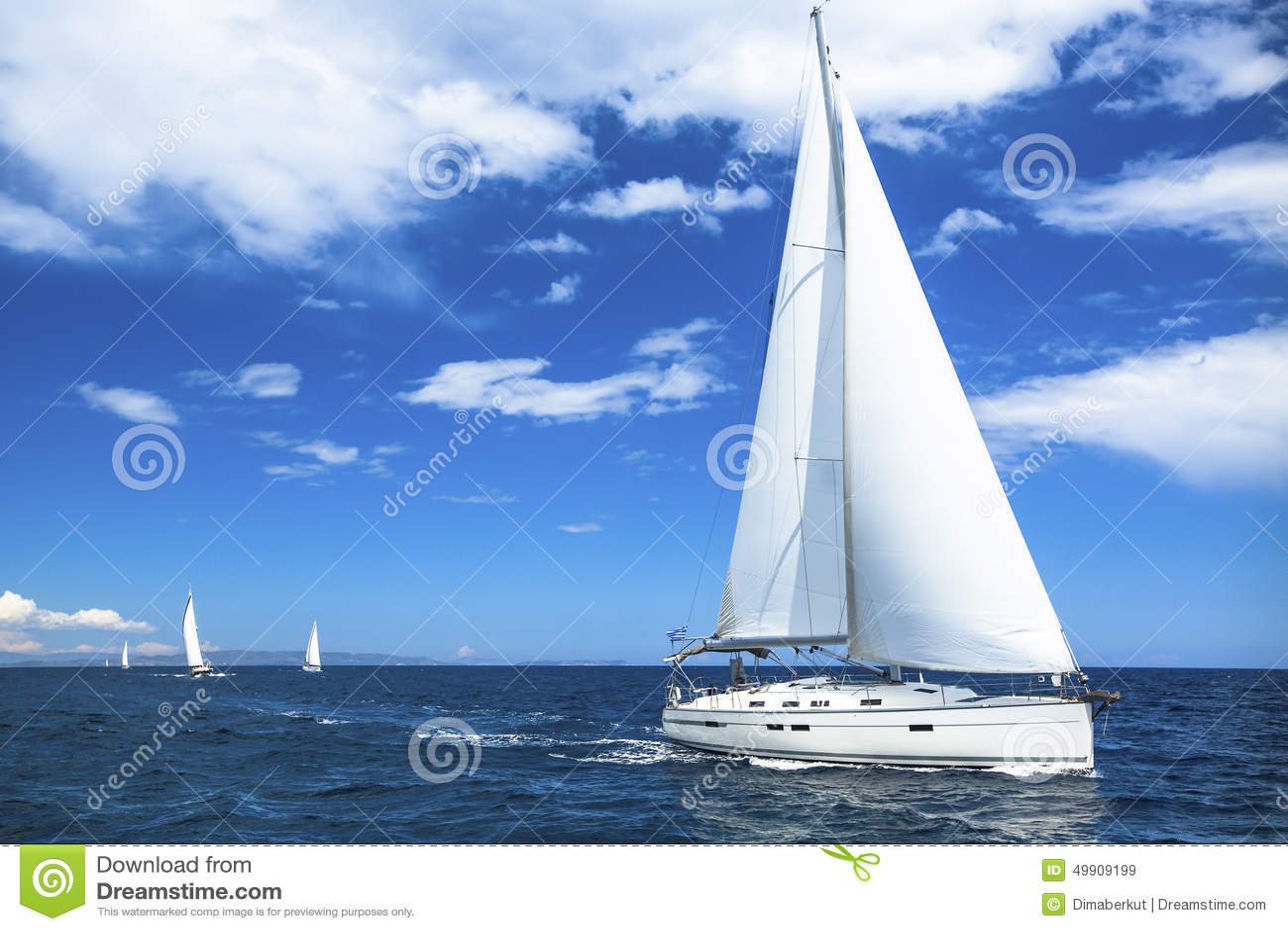 Sailing Boat Yacht Or Sail Regatta Race On Blue Water Sea. Sport. Stock Photo - Image: 49909199