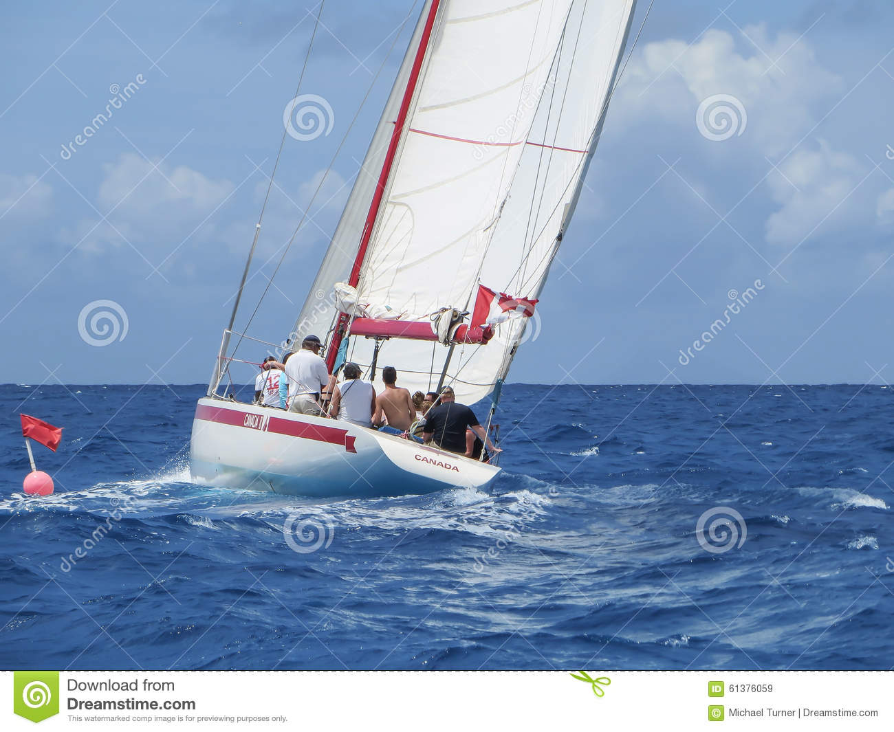 Sailboats In The Caribbean: Sailing In The Caribbean Editorial Stock Image