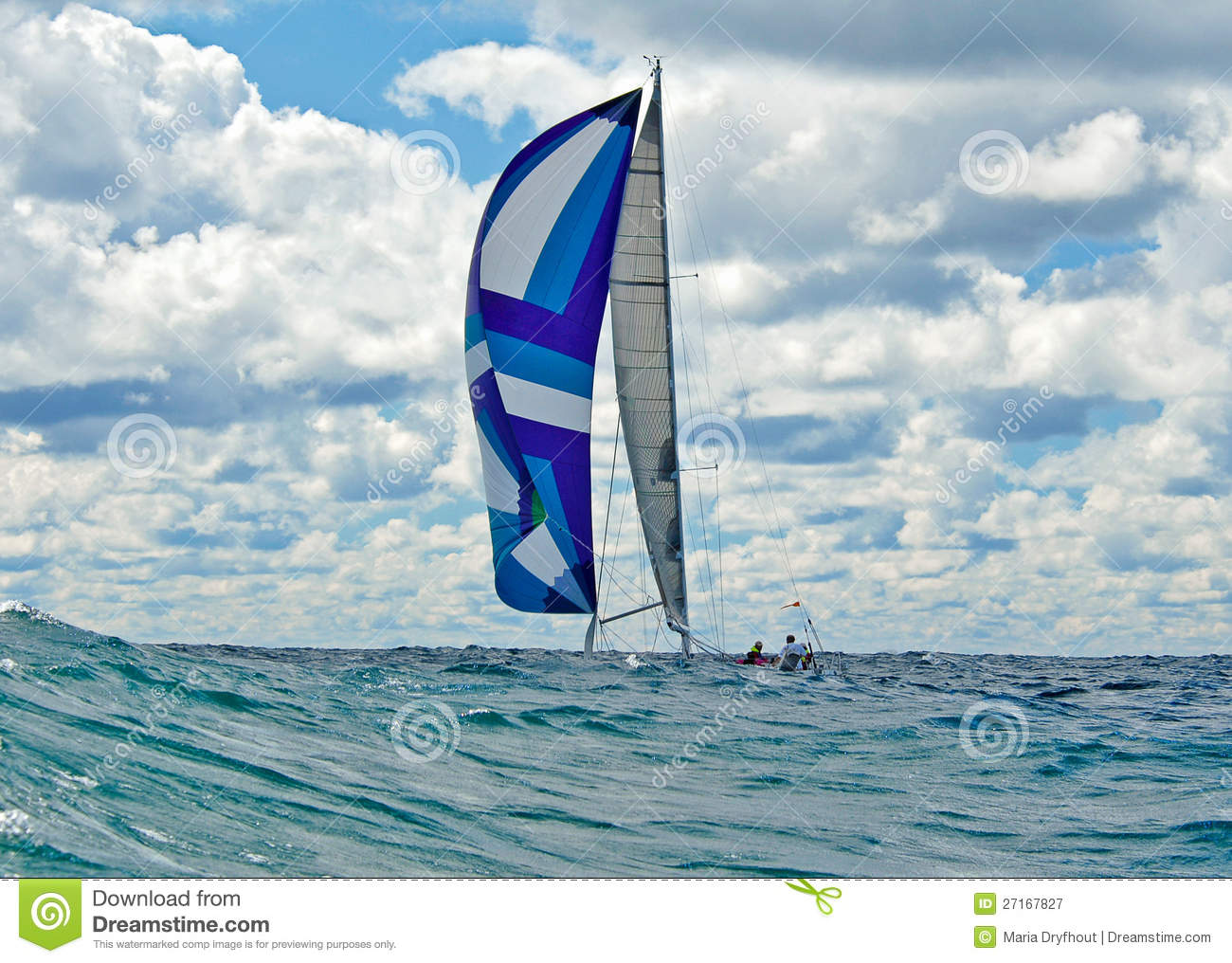 Sailing With A Colorful Spinnaker Royalty Free Stock Photography - Image: 27167827