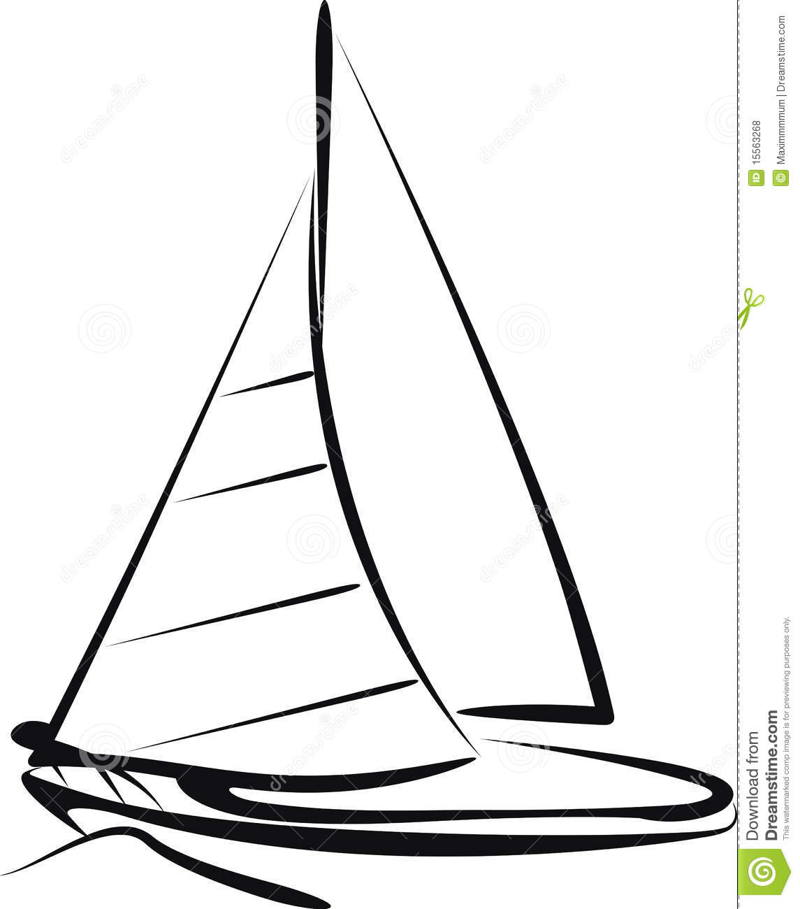 Art Line Yacht Design : Sailing ship stock vector illustration of wave