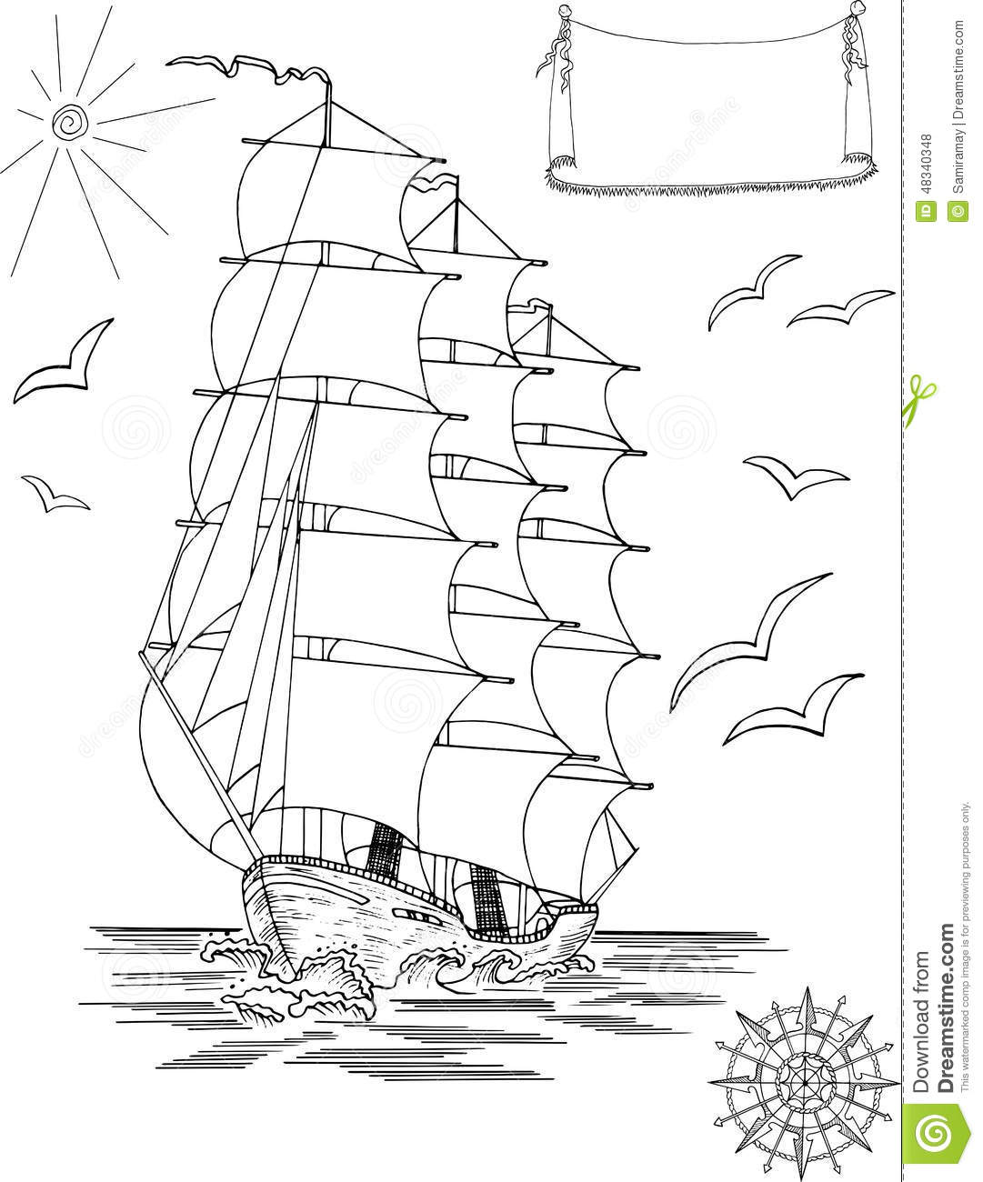 sailing ship with banner and wind rose stock illustration