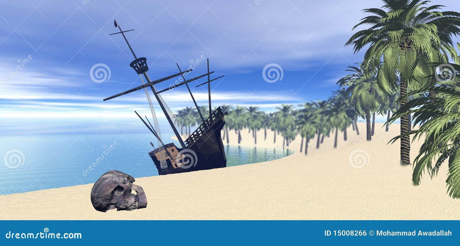 Sailing Ship On Desert Island Royalty Free Stock Image