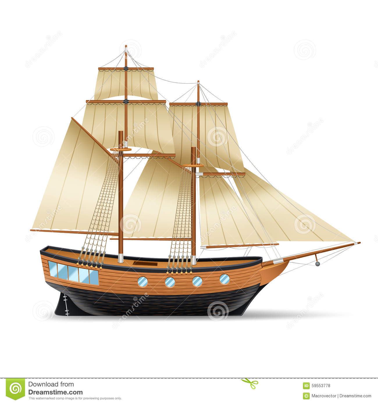 Sailing Ship Illustration Stock Vector - Image: 59553778