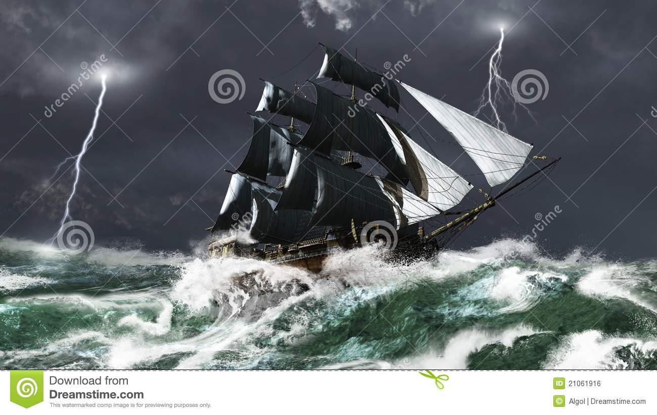 ... Ship In A Lightning Storm Royalty Free Stock Image - Image: 21061916