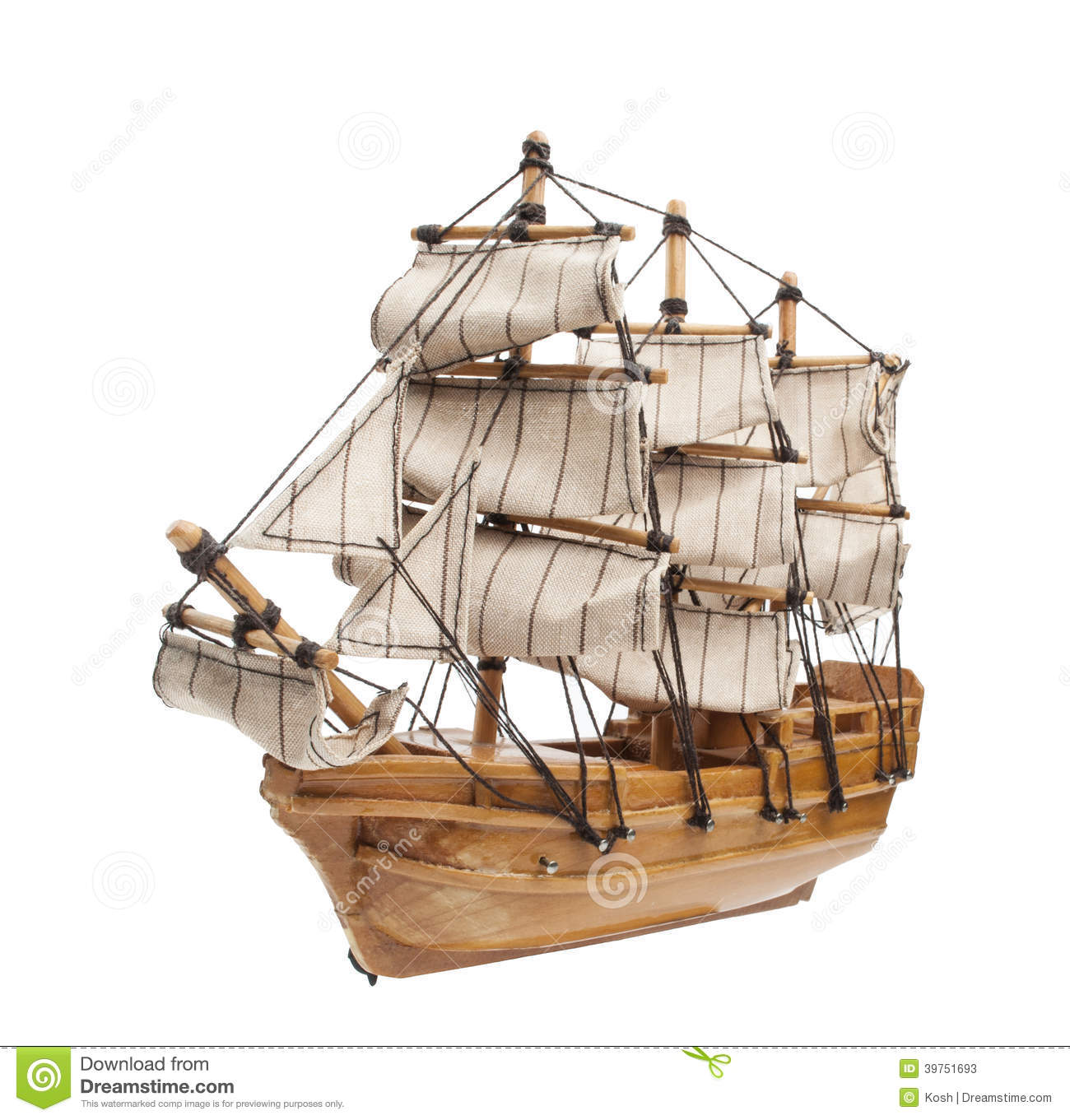 Sailing Ship Model Isolated On White Background Stock Photo - Image ...