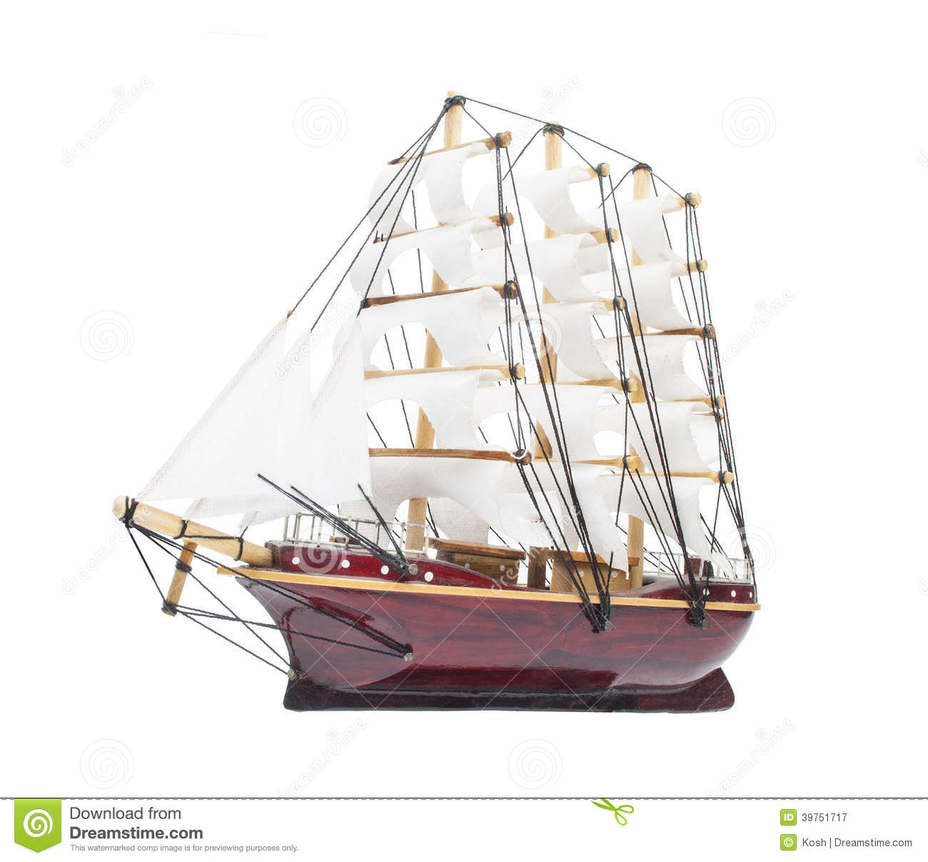 Sailing Ship Model Isolated On White Stock Photo - Image ...