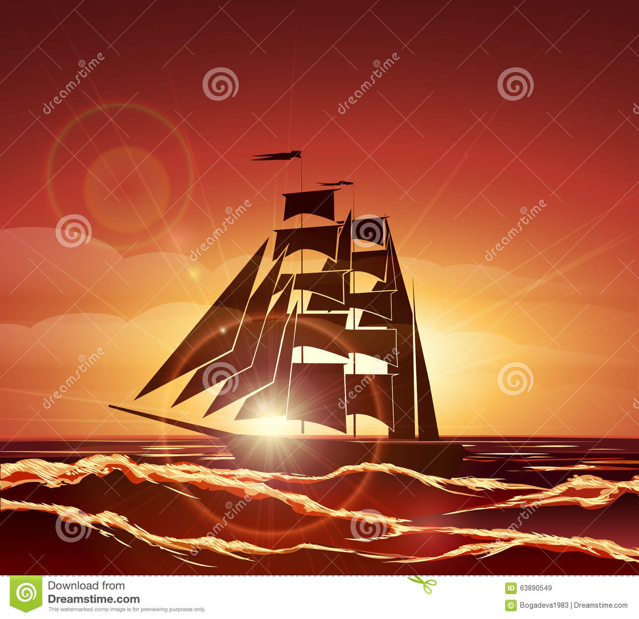 40d55914fe235 Sailing Ship in the Ocean stock vector. Illustration of design ...