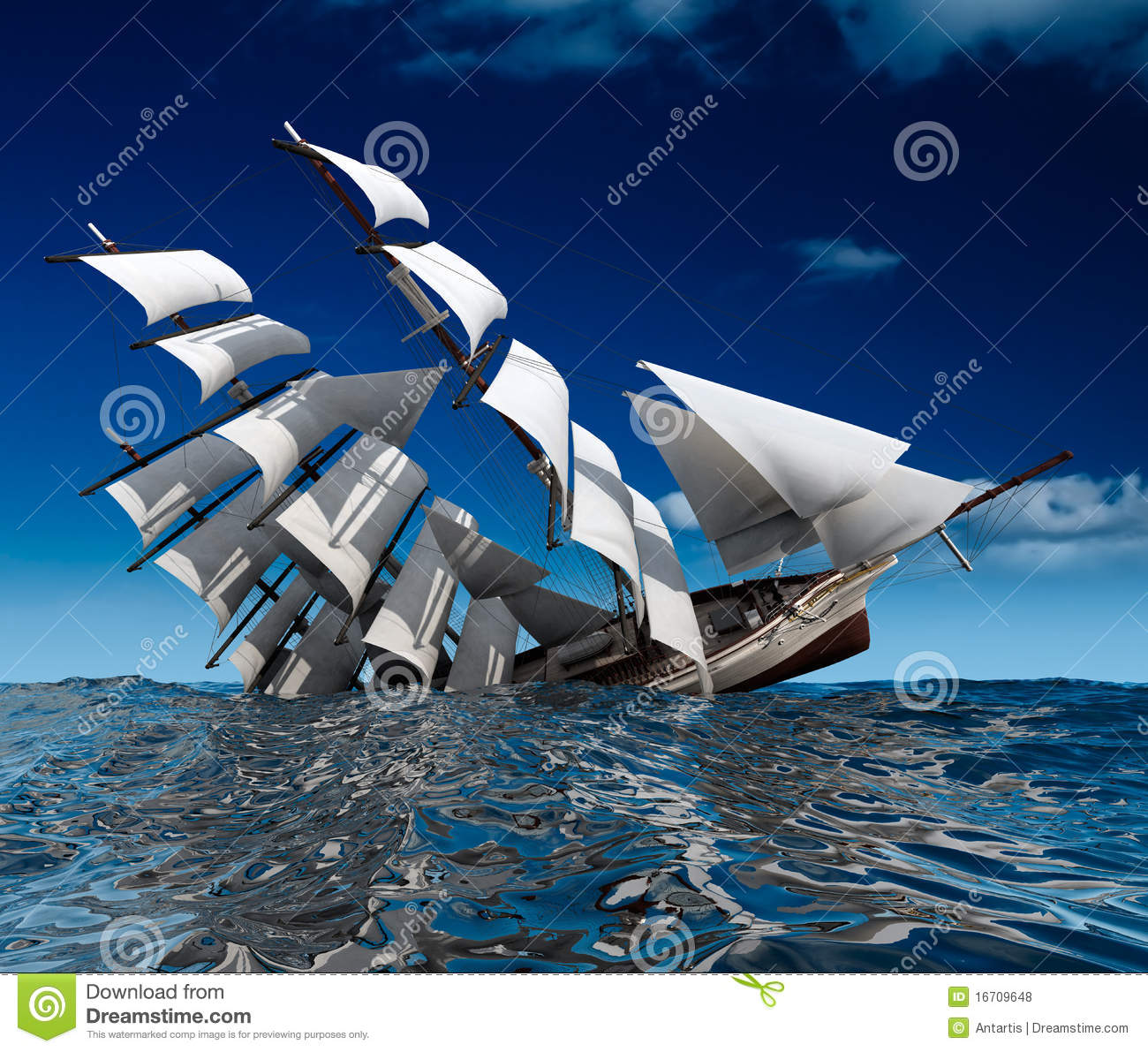 Sailing Ship Sinking Royalty Free Stock Photos Image