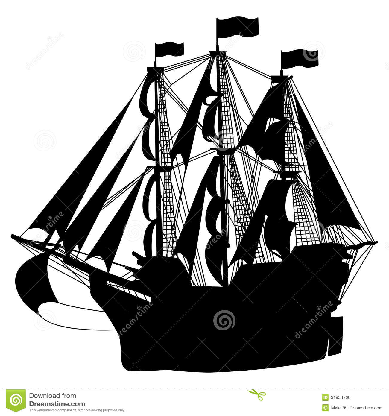 Sailing Ship stock vector. Image of isolated, mast ...
