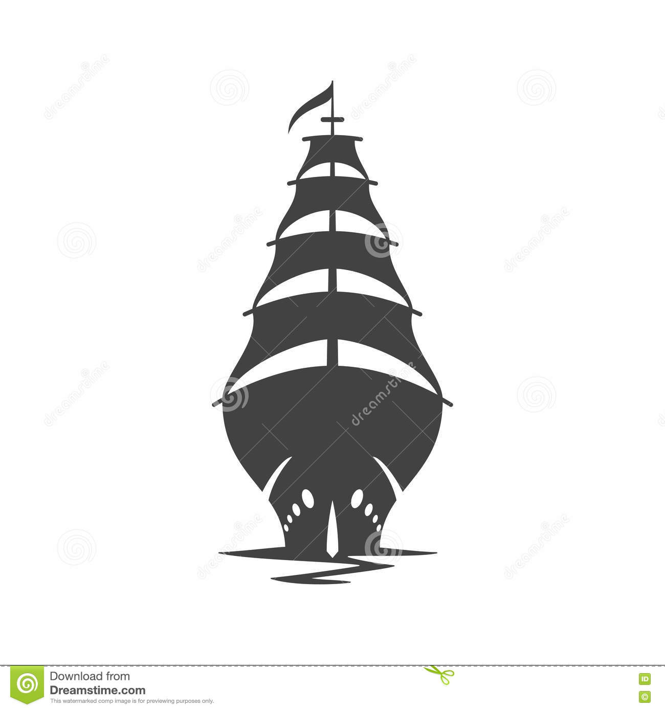 Sailing Ship Vector Illustration. Stock Vector - Image ...