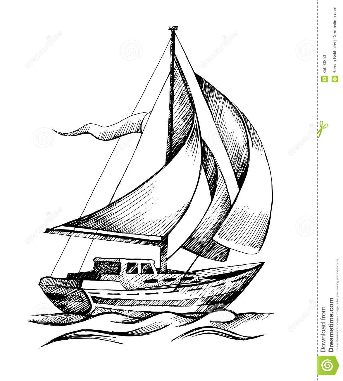 Line Drawing Yacht : Sailing ship vector sketch isolated with waves stock