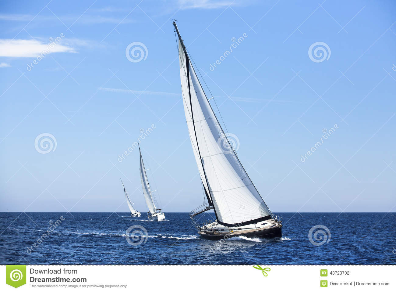 Sailing Ship Yachts With White Sails  Stock Photo - Image of