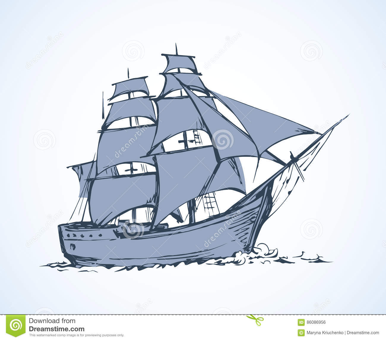 Sailing Vessel Vector Drawing