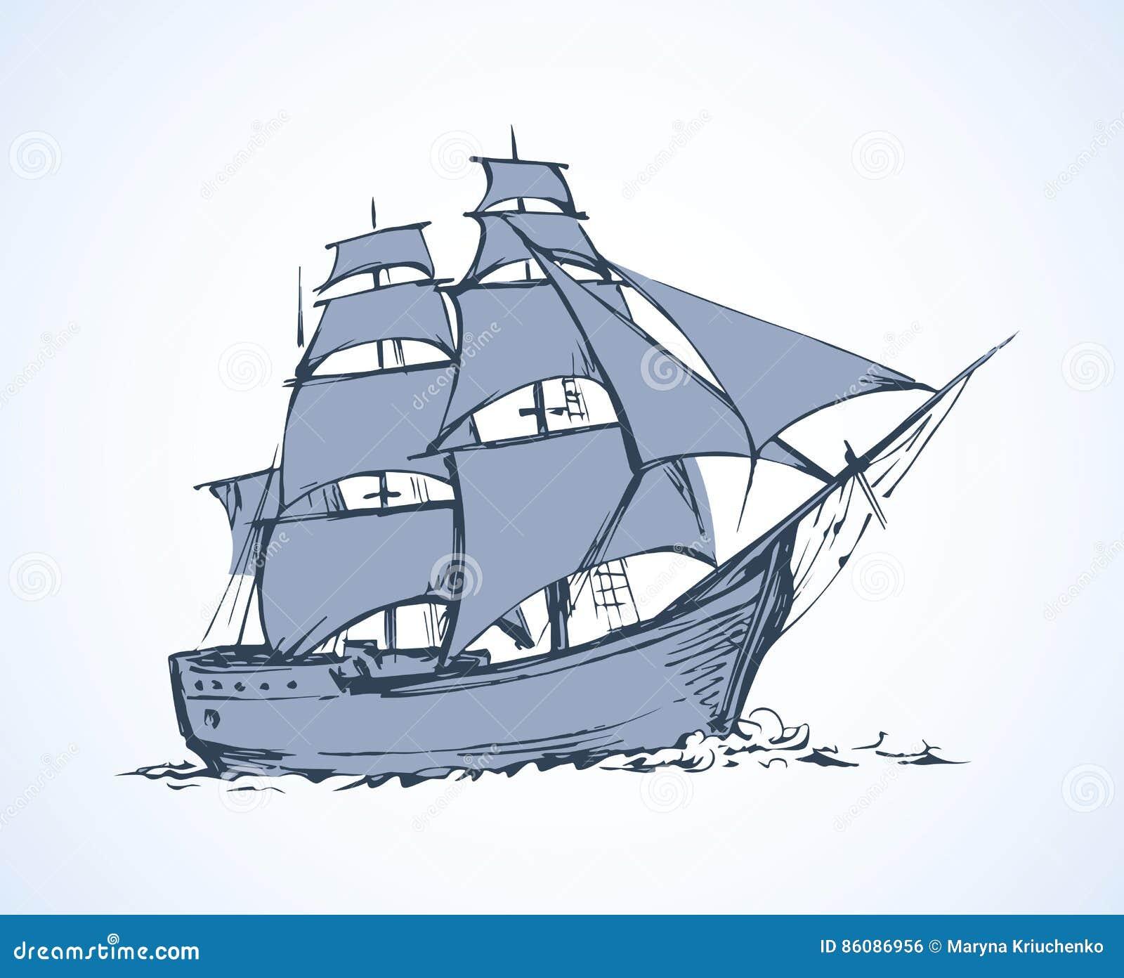 Sailing Vessel Vector Drawing
