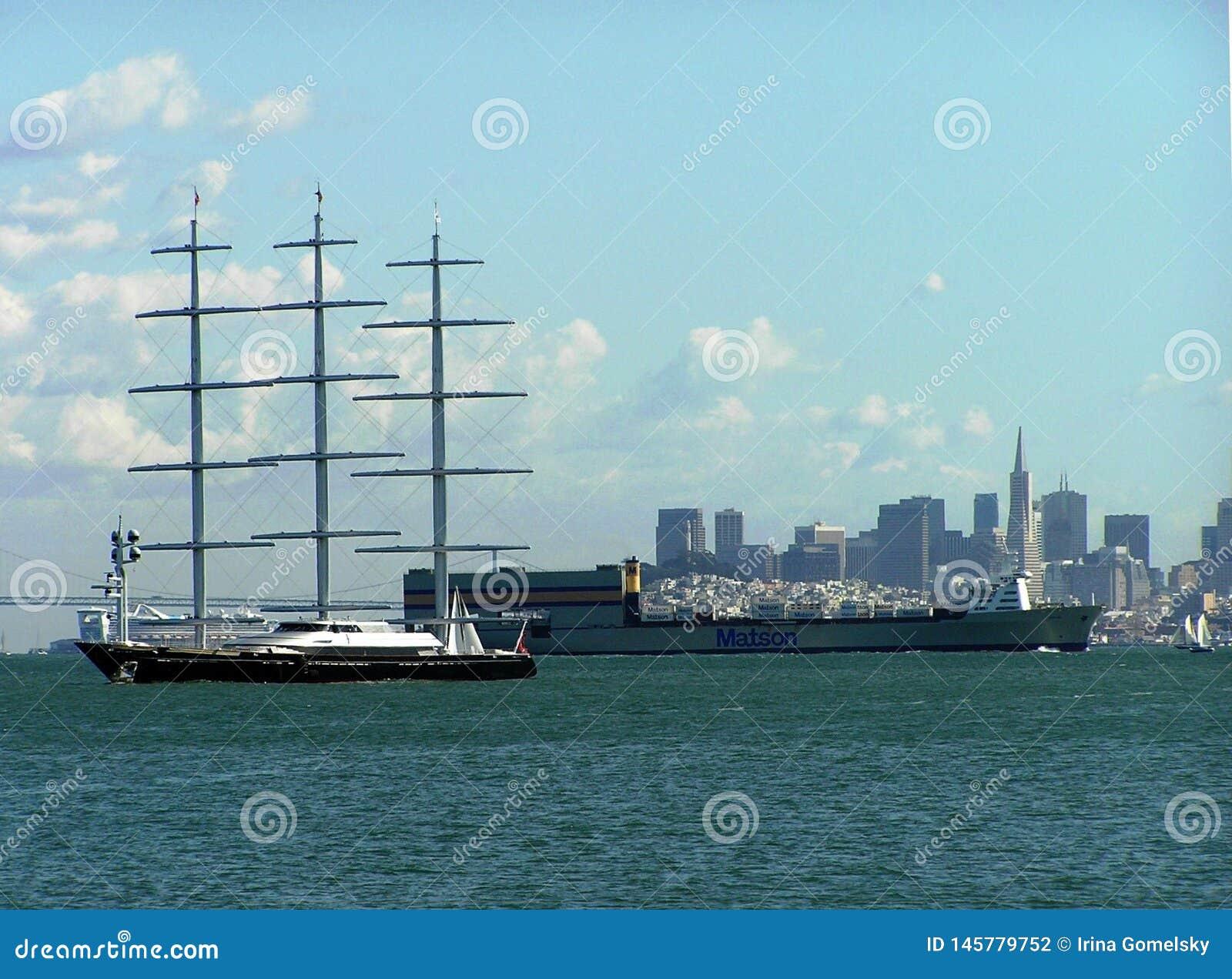 Sailing yacht Maltese Falcon off the coast of San Francisco, USA
