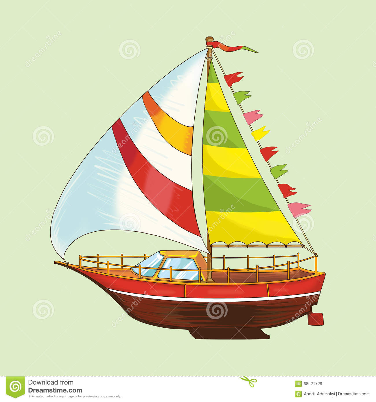 Sailing Yacht Of A Set Of Children's Toys. Stock ...