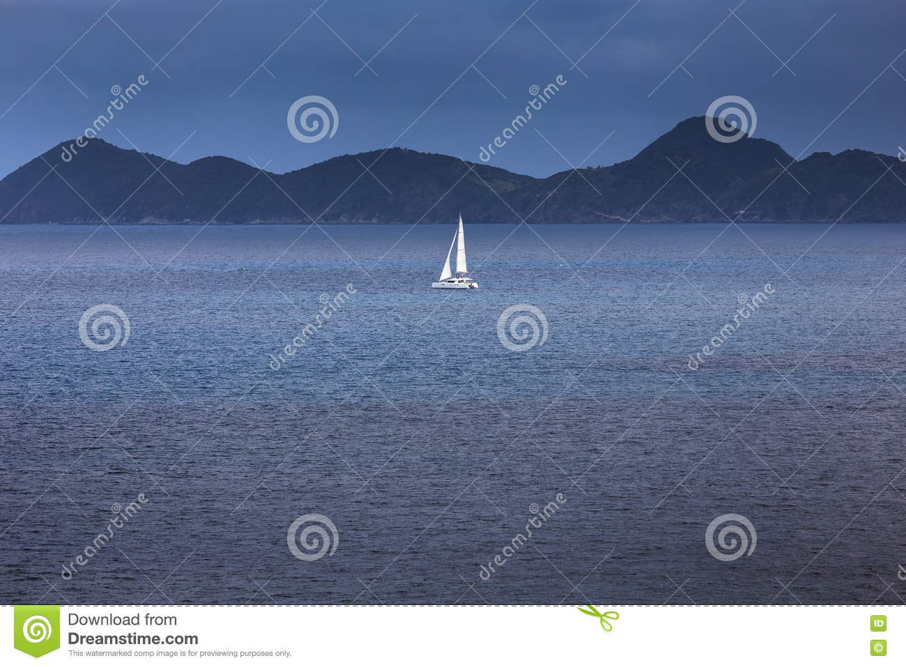 Sailing Yacht With White Sails In The Open Sea Stock Photo - Image