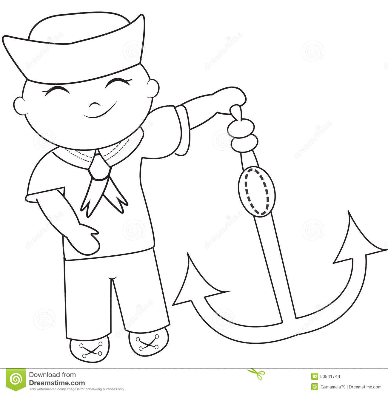 Sailor coloring page stock illustration. Illustration of exterior ...