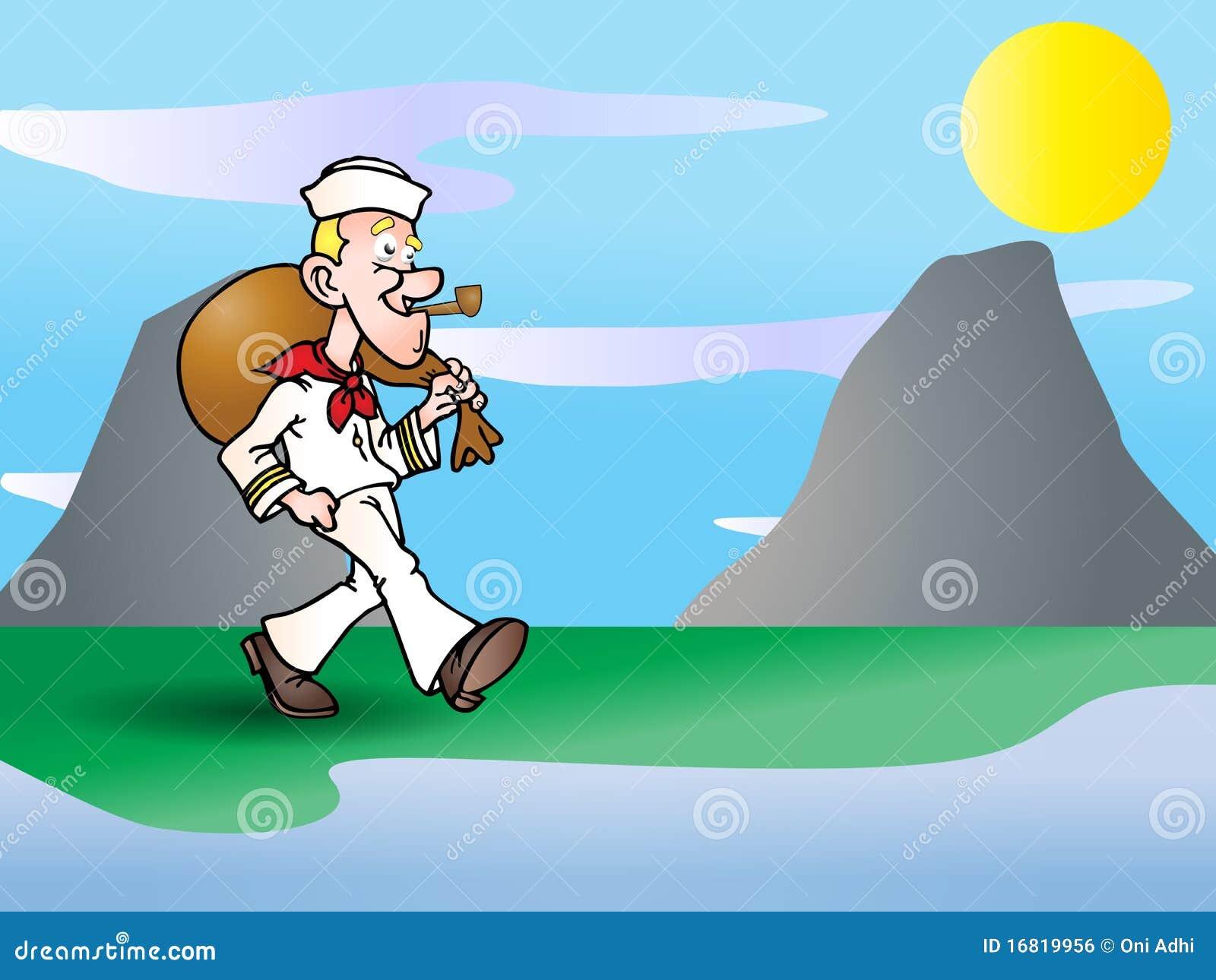 Sailor Going Home Illustration Stock Illustration
