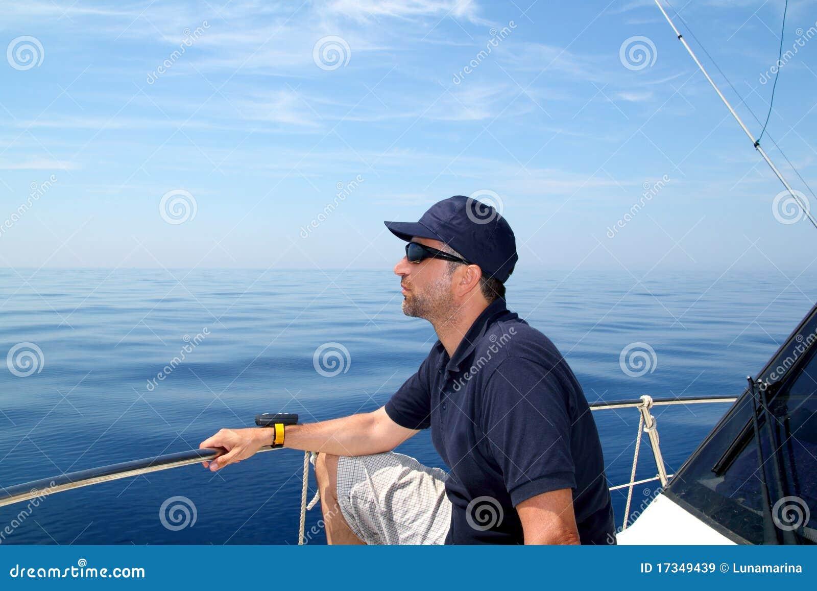 Sailor Man Sailing Boat Blue Calm Ocean Water Royalty Free ...