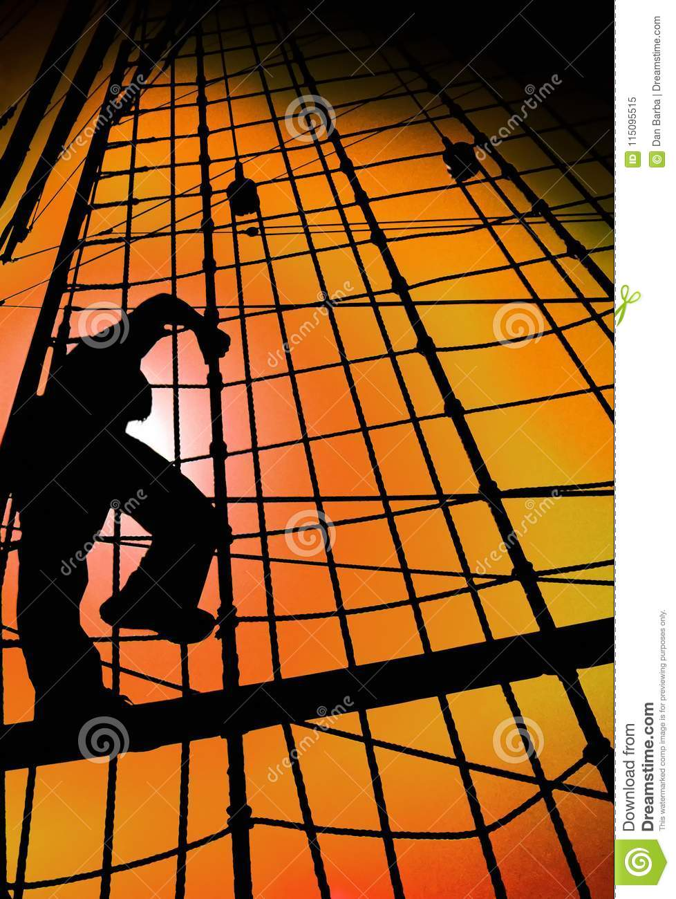 SAILOR MAN SILHOUETTE CLIMBING SHIP ROPES AGAINST GOLD SUNSET SKY