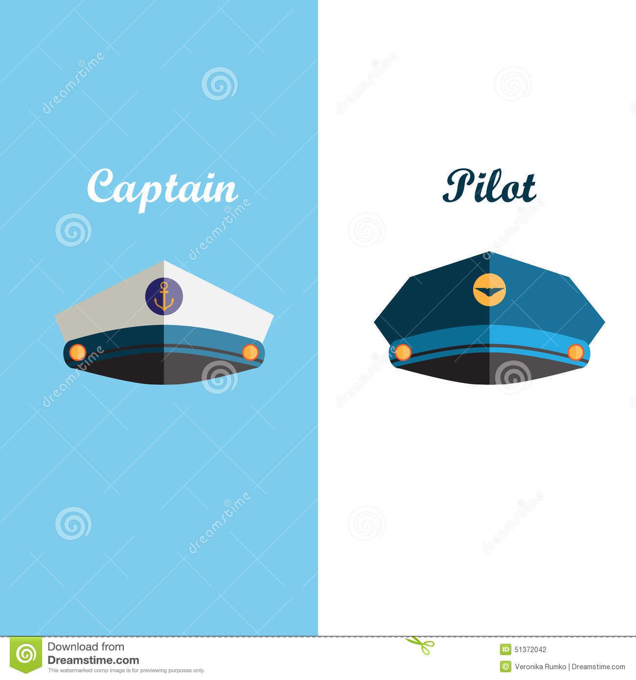 Isolated On A White Background Sailor And Pilot Cap Flat Icons Royalty Free Illustration