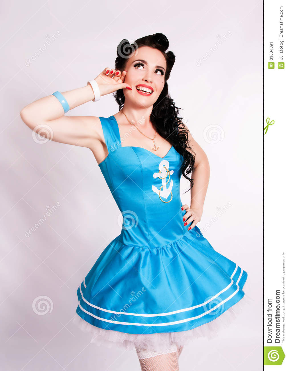 sailor pin up girl with bright make up stock image image 31604391. Black Bedroom Furniture Sets. Home Design Ideas