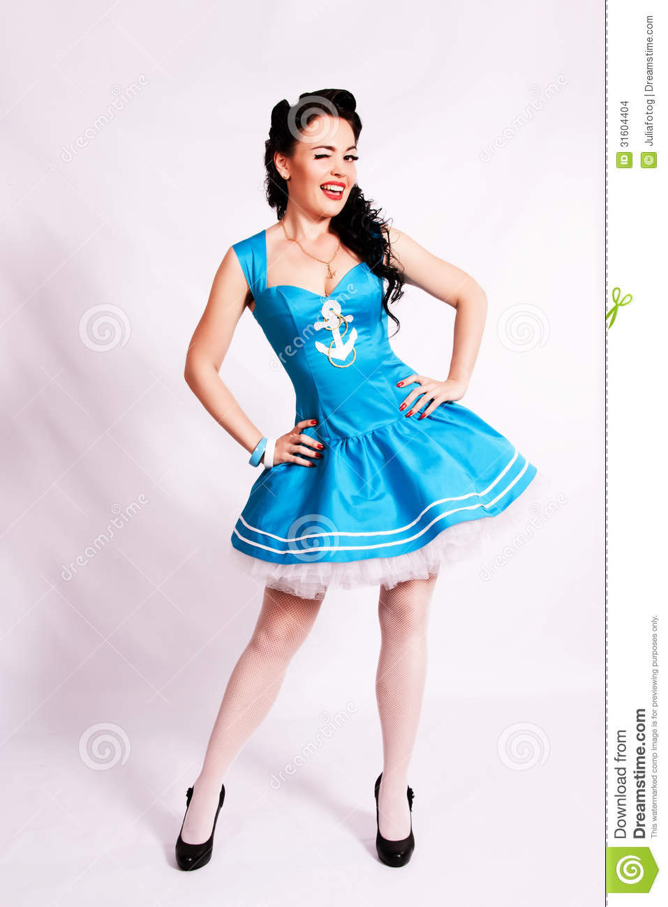 sailor pin up girl with bright make up stock photo image 31604404. Black Bedroom Furniture Sets. Home Design Ideas