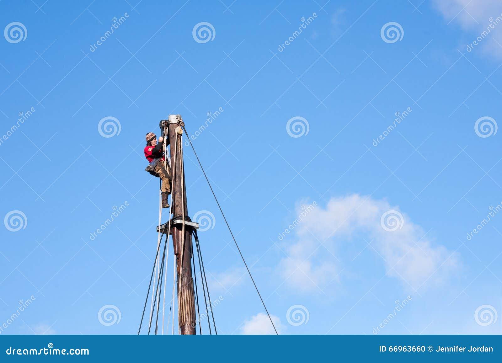 top job stock photos image  sailor seaman workman top mast rigging dangerous job horizontal stock photo