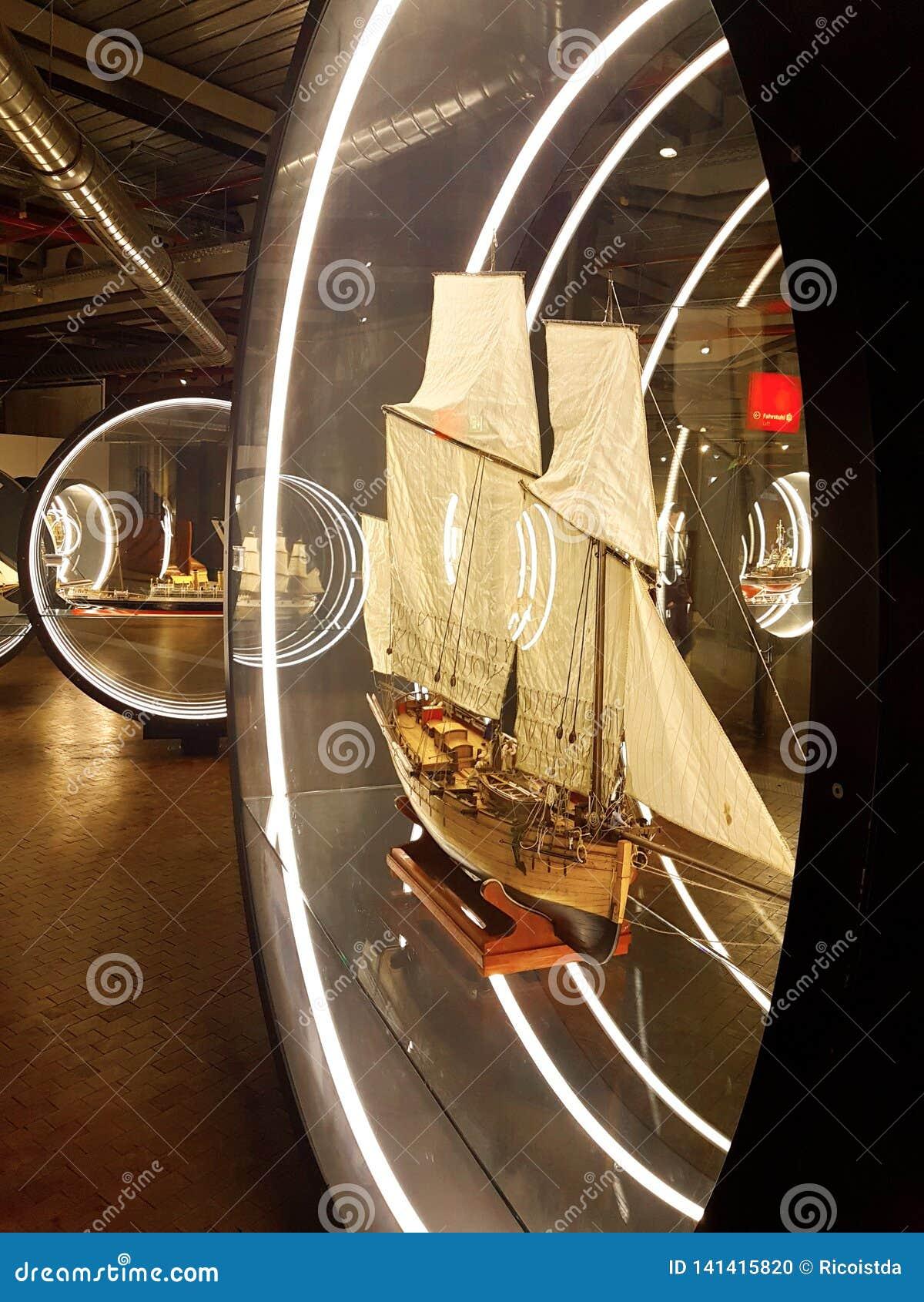 sailship miniature models at naval exhibition