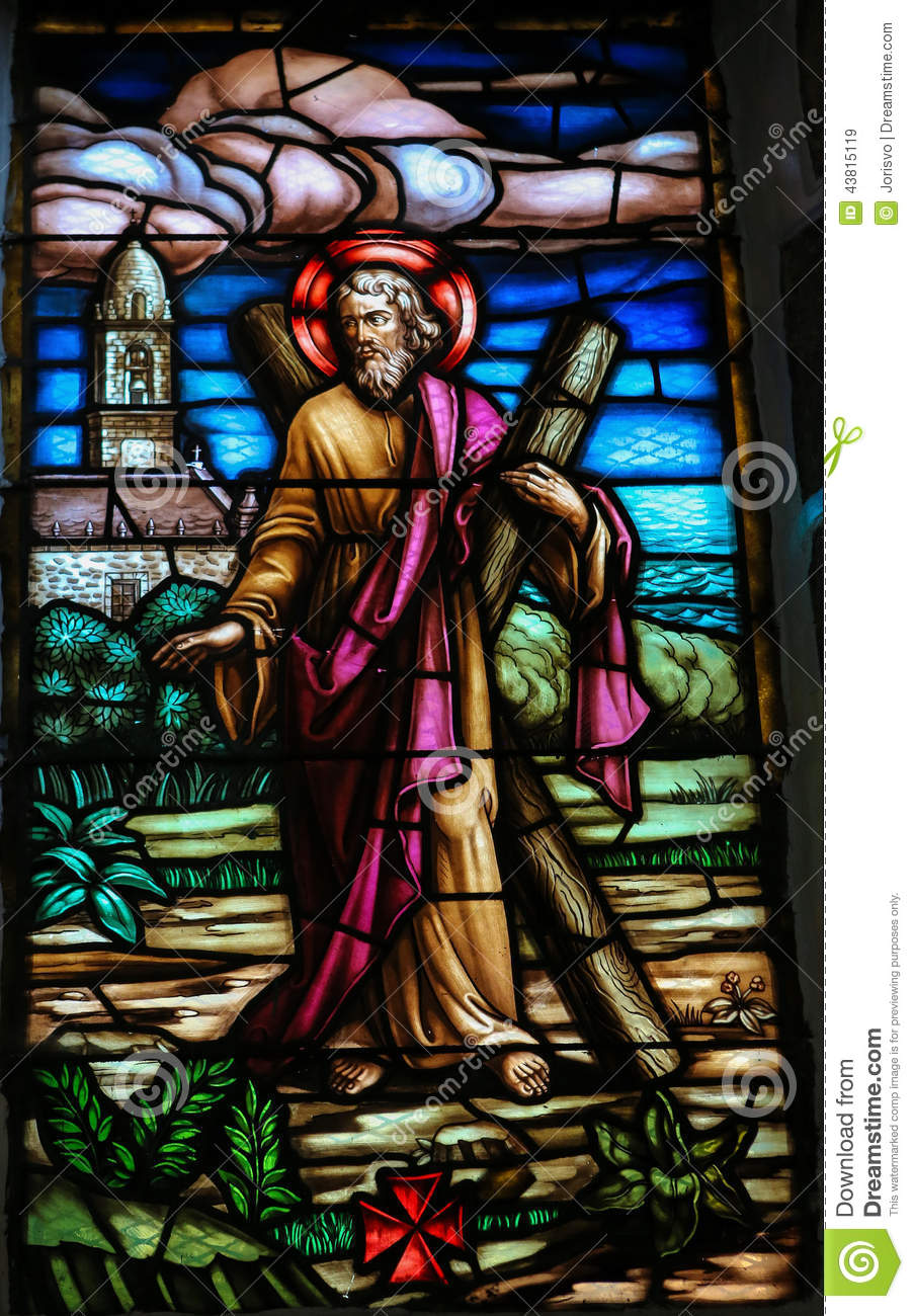 Stained glass window depicting Saint Andrew in the church of San ...